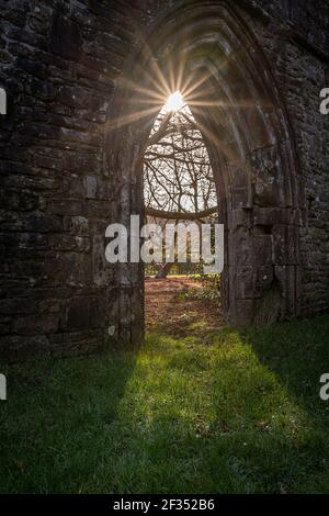 Margam Abbey ruins, Margam Country Park, The Chapter House. Neath Port Talbot, Wales, United Kingdom - Stock Photo