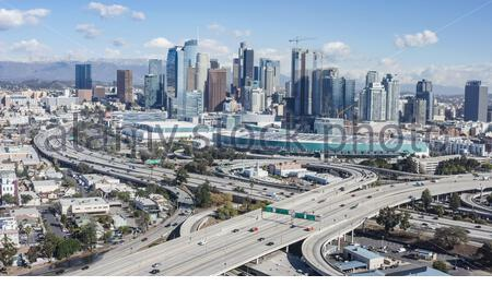 Downtown Los Angeles , the 110 and 10 freeways from the South - South Los Angeles, Los Angeles, California, United States (US)