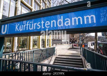Famous Kurfuerstendamm street in Berlin - CITY OF BERLIN, GERMANY - MARCH 11, 2021