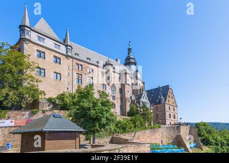 geography / travel, Germany, Hesse, Marburg, Marburg at the Lahn, landgrave's castle, Additional-Rights-Clearance-Info-Not-Available Stock Photo