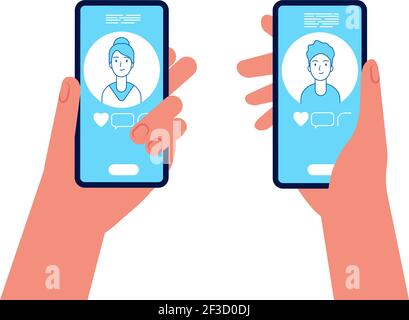 Online dating. Man and woman holding smartphones and see on screen display male and female avatars vector concept