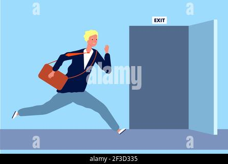 Male run to exit. Businessman fast moving to opening door evacuation or emergency escape out from office place vector character Stock Photo