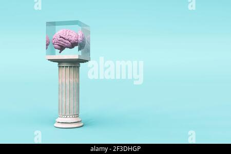 Human brain in a glass cube on column . Brilliant mind ideas concept . This is a 3d render illustration .