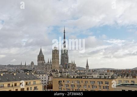 Aerial view on the ornate gothic cathedral of Rouen and it`s surroundings, France