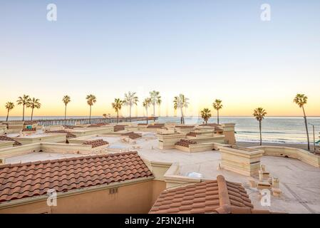 View of the coast on a winter morning. Oceanside, California, USA. - Stock Photo