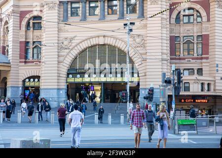 Flinders street railway station in Melbourne city centre,Victoria,Australia