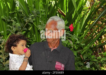 Standing in the garden with an Indian grandfather and a small grandson, looking in front of each other, smiling and the small child smelling the fragr