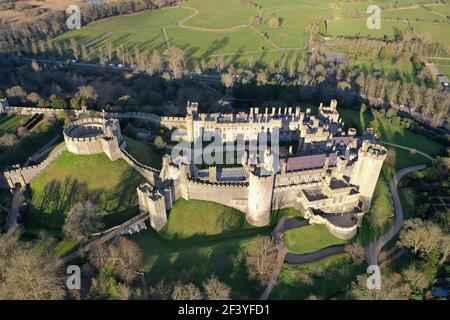 Aerial view of Arundel Castle