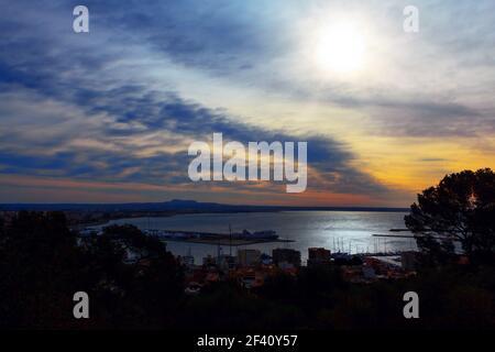 Puerto de Palma in the morning light . Port of Palma de Mallorca in Spain - Stock Photo