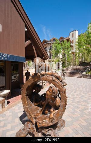 Bronze sculptures of playing children in Vail, Eagle County, Colorado, USA