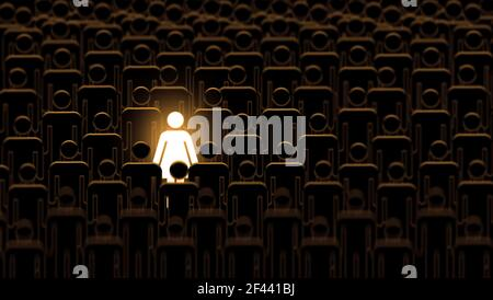 Woman stand out from a crowd of men. brilliant talent businesswoman standing out of crowd. large Group of identical people with one different person,