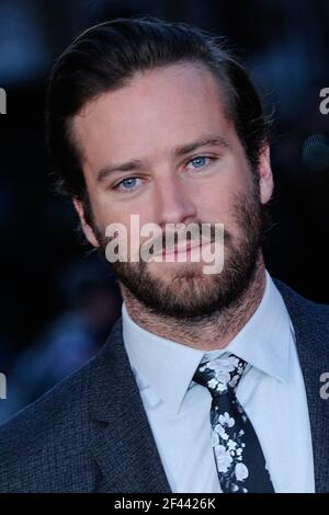 FILE PHOTO - File photo dated October 16, 2016 of Armie Hammer attending the Premiere of Free Fire and the Closing Ceremony for the BFI London Film Festival in London, UK. Hammer has been accused of raping a woman in Los Angeles in 2017. The woman, a 24-year-old named only as Effie, made the allegations during a virtual news conference on Thursday. Hammer, 34, denied the allegations. His lawyer said they were 'outrageous' and Hammer 'welcomes the opportunity to set the record straight'. Photo by Aurore Marechal/ABACAPRESS.COM Stock Photo