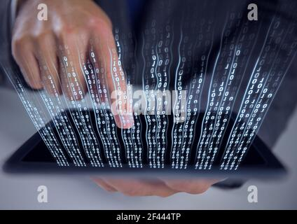 Composition of binary coding over man using tablet