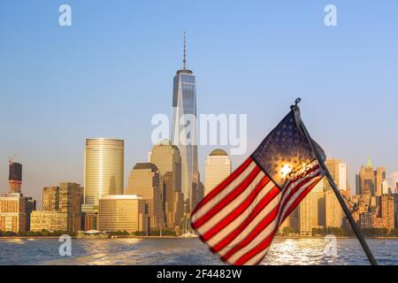 geography / travel, USA, New York, New York City, Manhattan, Battery park City with one WTC, Additional-Rights-Clearance-Info-Not-Available Stock Photo