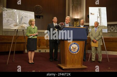 United States Senator Bill Nelson (Democrat of Florida), flanked by U.S. Senators Kay Bailey Hutchison (Republican of Texas), left, John Boozeman (Republican of Arkansas), U.S. Representative Chaka Fattah (Democrat of Pennsylvania), and NASA Administrator Charles Bolden, right, speaks about the design of a new Space Launch System during a press conference, Wednesday, September 14, 2011, at the Dirksen Senate Office Building on Capitol Hill in Washington. The new system will take the agency's astronauts farther into space than ever before, create high-quality jobs here at home, and provide the