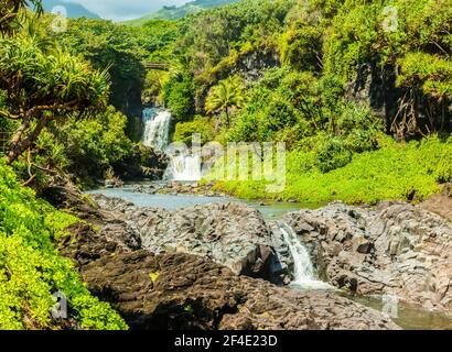 The Pools of Oheo Gulch, Kipahulu District, Haleakala National Park, Maui, Hawaii, USA