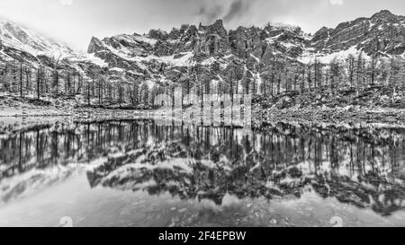 Black and white landscape, Alps (Alpe Devero National Park, Italy) - Stock Photo