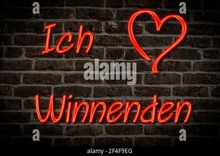 Leuchtreklame, Ich liebe Winnenden, Baden-Württemberg, Deutschland, Europa | Illuminated advertising, I love Winnenden, Baden-Württemberg, Germany, Eu