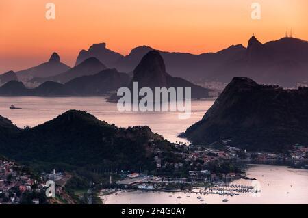 Beautiful View of Rio de Janeiro Mountains by Sunset - Stock Photo