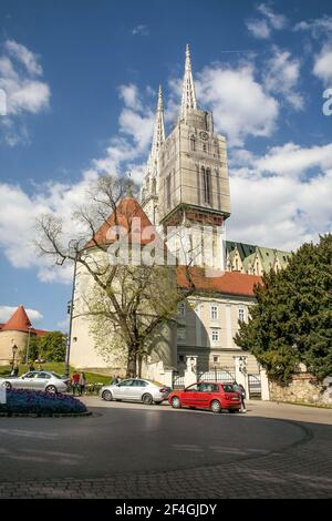 Zagreb, Croatia, Republika Hrvatska, Europe. Zagreb Cathedral of the Assumption of the Blessed Virgin Mary, located in Kaptol Square, The Cathedral is dedicated to kings Saint Stephen and Saint Ladislaus too. Architectural style: Neo-gothic, 13th century. Stock Photo