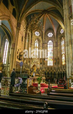 Zagreb, Croatia, Republika Hrvatska, Europe. Zagreb Cathedral of the Assumption of the Blessed Virgin Mary, located in Kaptol Square, The Cathedral is dedicated to kings Saint Stephen and Saint Ladislaus too. Architectural style: Neo-gothic, 13th century, The altar. Stock Photo