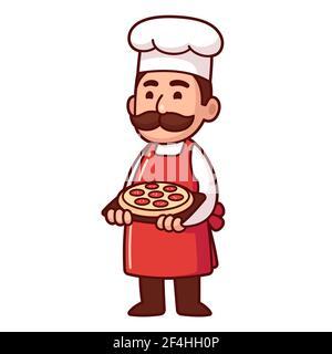 Cute cartoon Italian chef holding pizza. Funny restaurant character, vector clip art illustration.