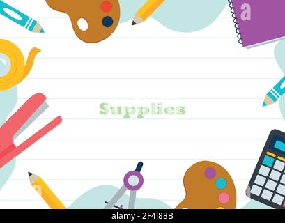 School and education supplies icons