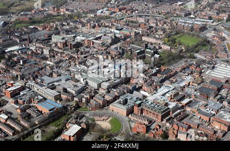 aerial view of Chester city centre skyline, Cheshire, UK