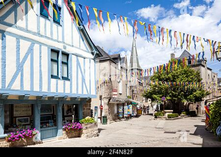 Old half timbered buildings in the medieval walled town of Guerande, Loire-Atlantique, France