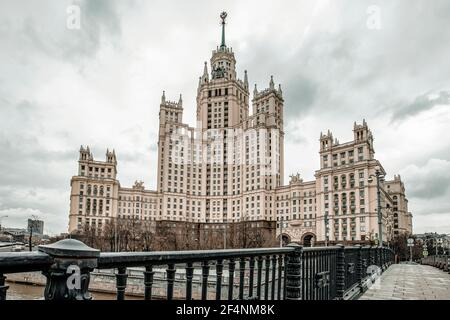 Kotelnicheskaya Embankment Building, one of seven Stalinist skyscrapers in Moscow, The Seven Sisters. High quality photo Stock Photo