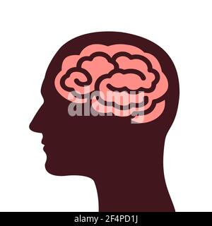 Head with human brain. Organ of thinking and intellect. Vector illustration isolated on white.