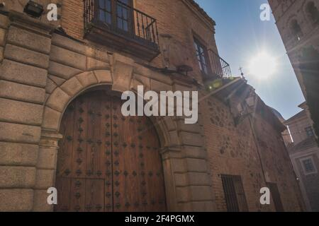 View of an old facade in the streets of Toledo Spain