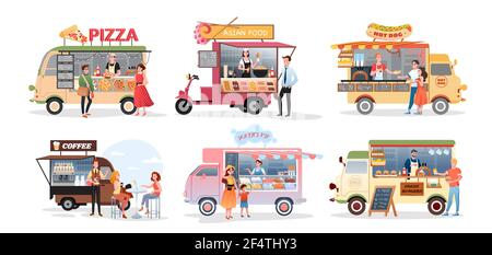 Street market food truck, outdoor cafe vector illustration set. Cartoon foodtruck with menu pizza asian food burger ice cream hot dog fastfood eating Stock Photo