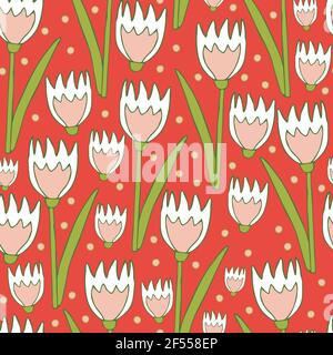 Seamless vector pattern with tulips on pink background. Beautiful floral wallpaper design. Romantic flower fashion textile.