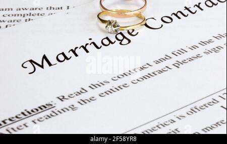 Marriage contract with two golden wedding rings and gold pen, prenuptial agreement, macro close up, sign with signanture,document,agreement concept
