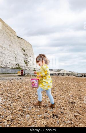 Young girl of 4 years collecting pebbles in her bucket at Saltdean beach near Brighton Stock Photo
