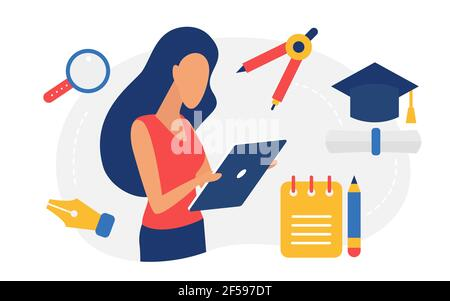 Education and graduation concept, woman student using mobile phone or tablet to study
