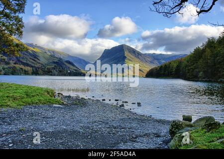 Fleetwith Piike from Lake Buttermere in the Lake District on a November afternoon