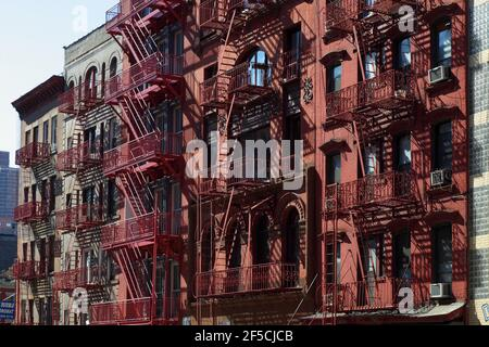 geography / travel, USA, New York, New York City, houses with fire escape, Additional-Rights-Clearance-Info-Not-Available