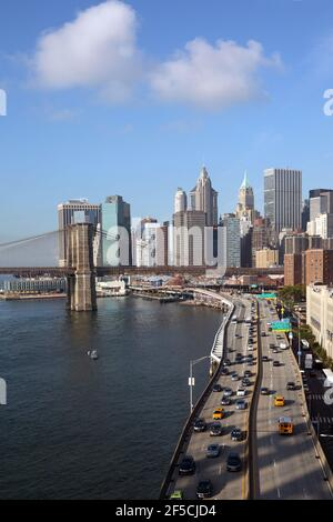 geography / travel, USA, New York, New York City, Manhattan Bridge, FDR Drive, Lower Manhatta, Additional-Rights-Clearance-Info-Not-Available Stock Photo