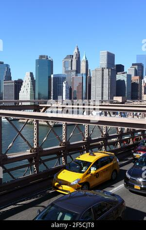 geography / travel, USA, New York, New York City, Brooklyn Bridge, Taxis (Yellow Cabs), East River, Ne, Additional-Rights-Clearance-Info-Not-Available Stock Photo
