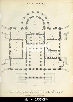 Copperplate engraving of a Plan of a design for a Mansion House in the Modern Style From the Encyclopaedia Londinensis or, Universal dictionary of arts, sciences, and literature; Volume II;  Edited by Wilkes, John. Published in London in 1810