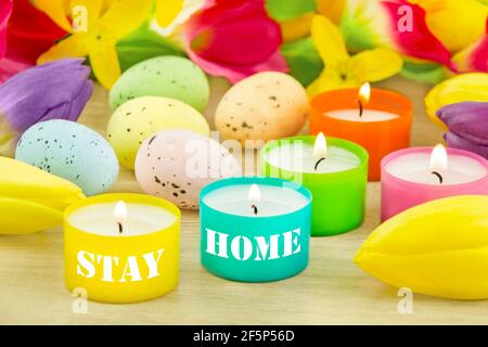 Easter decoration and Stay Home