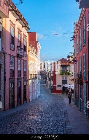 View of a street in the center of Santa Cruz de la Palma, Canary islands, Spain.