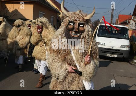 Masked Busós walk through the downtown on the Farsang Saturday during the Busójárás Carnival in Mohács in Baranya County, Hungary. Traditional annual masked celebration of the Šokci ethnic group held at the end of the carnival season (Farsang) in Southern Hungary.