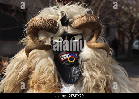Masked Busó attends the Busójárás Carnival on the Farsang Tuesday in Mohács in Baranya County, Hungary. Traditional annual masked celebration of the Šokci ethnic group held at the end of the carnival season (Farsang) in Southern Hungary.