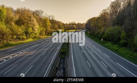 Bottrop, North Rhine-Westphalia, Germany - April 5th, 2020: View at the empty A2 motorway during lockdown