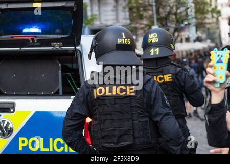 Brno, Czech Republic - May 1, 2019: Police officers in riot gear with helmet during demonstration right wing extremists and clashes with activists aga Stock Photo