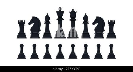 Chess pieces vector icon set isolated on white background.