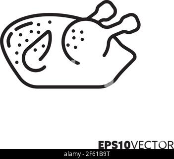 Grilled chicken line icon. Outline symbol of roast poultry. Prepared food vector illustration. - Stock Photo